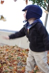Jackson plays with leaves