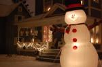 lit inflatable snowman