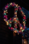 peace sign Christmas lights