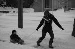 Jess pulls Jacksons sled