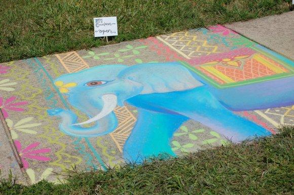 Sidewalk Chalk Elephant