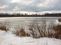Frozen pond, snowy dunes