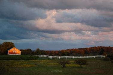 Old Mission Peninsula Sunset Barn Haserot Beach Cloudhead Warm Cool Sky Panorama