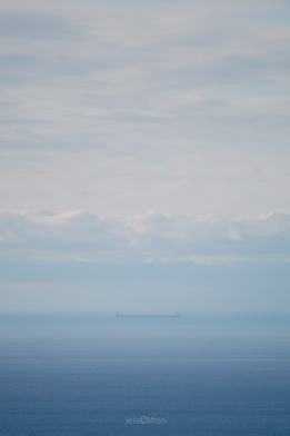 Barge on Lake Michigan Horizon - Blue Gradient