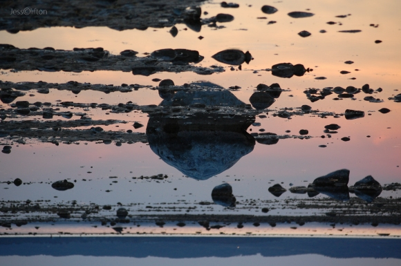 Rock Sunset Reflection Flipped Cosmic Orbit