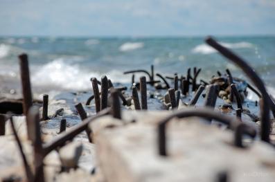 Shipwreck Bent Nails Closeup